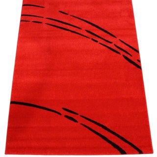 Solid Red Rug with Black Lines - 5′ × 8′