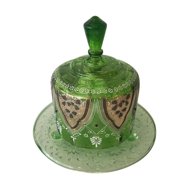 Image of Vintage Green Glass Bohemian Cake Plate With Lid