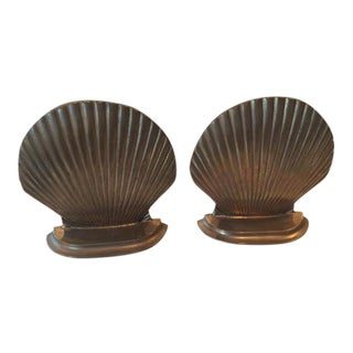 Solid Brass Seashell Bookends - A Pair
