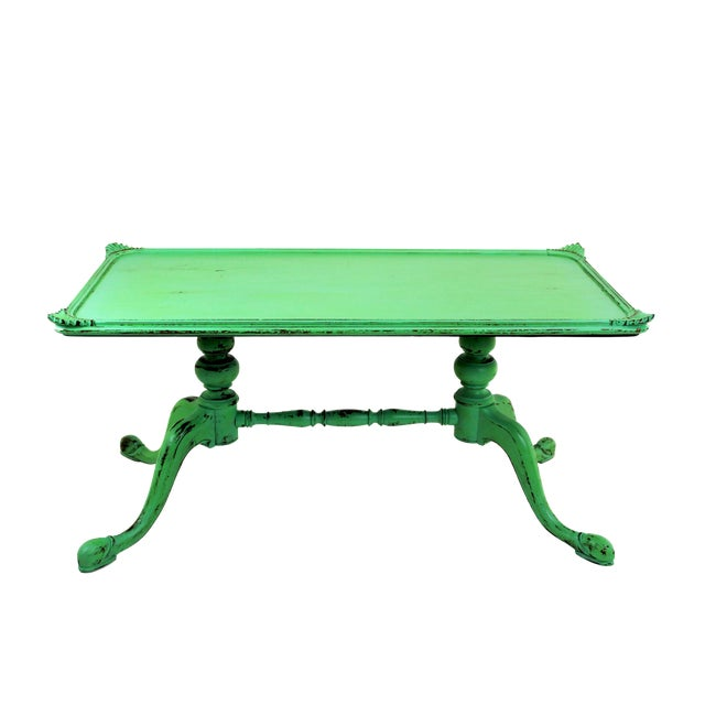 Painted Retro Coffee Table: Vintage Georgian Style Green Painted Coffee Table