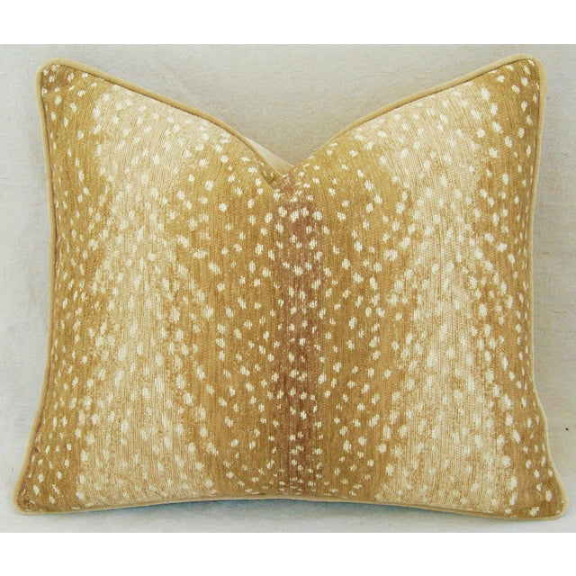 Custom Tailored Antelope Fawn Spot Velvet Feather/Down Pillows- Pair - Image 4 of 10