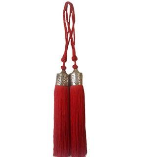 Moroccan Red Silk Tassel - Pair