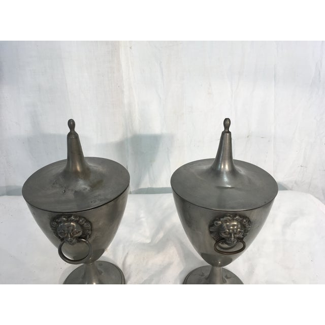 19th C. English Pewter Urns - A Pair - Image 6 of 9