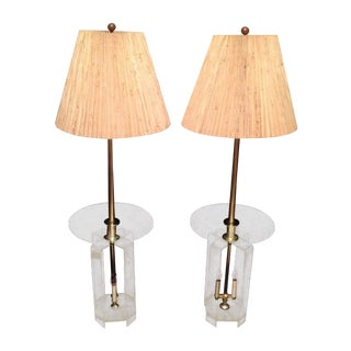 Mid-Century Lucite Glass Table Lamps - A Pair
