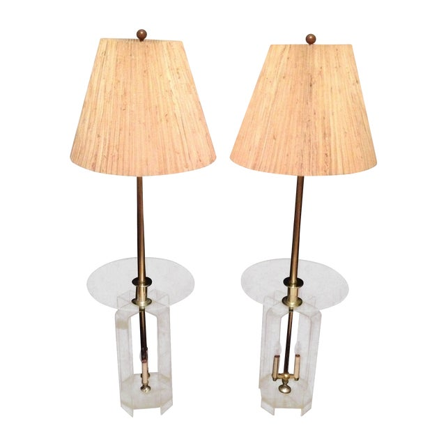 Image of Mid-Century Lucite Glass Table Lamps - A Pair
