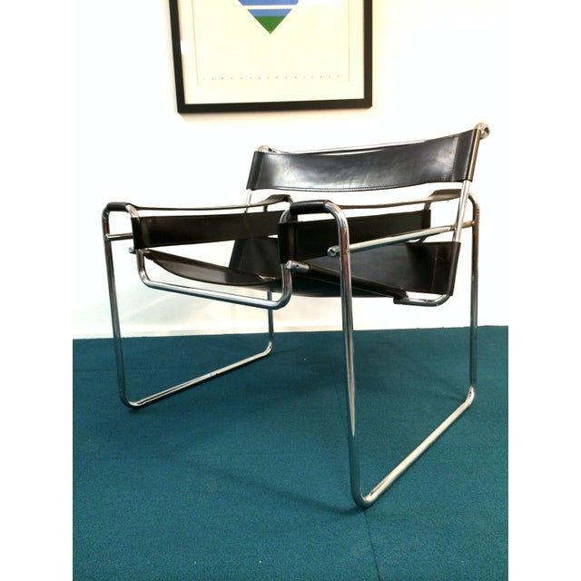 Wassily Style Chair in Black Leather and Chrome - Image 7 of 8