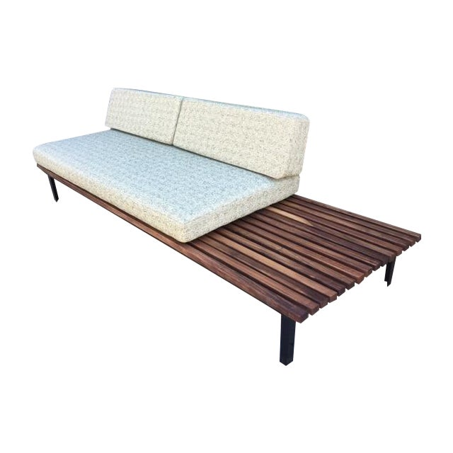 Mid century green tweed daybed sofa side table chairish for Mid century daybed sofa
