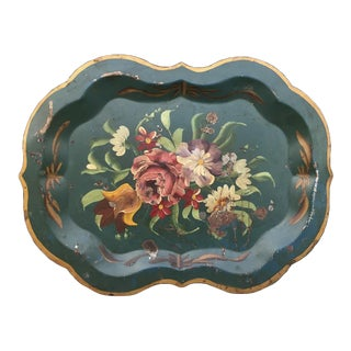 Green & Gold Floral Tray