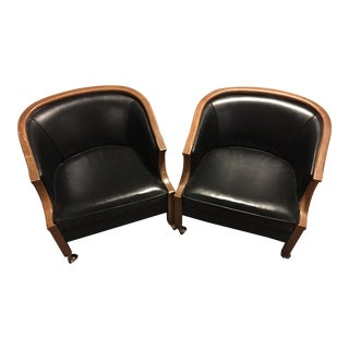 John Stuart Black Leather & Wood Bucket Chairs on Casters - A Pair