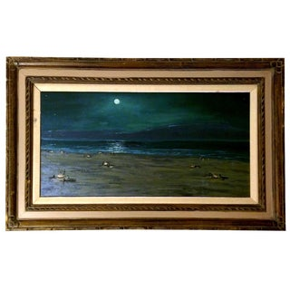 Framed Moonlit Beach Oil Painting- Charles Rollo Peters?