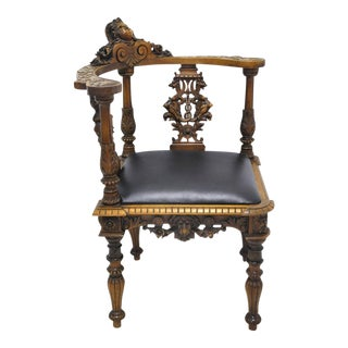 19th Century Carved French Walnut Corner Armchair