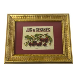 Antique Framed Cherry Juice Label