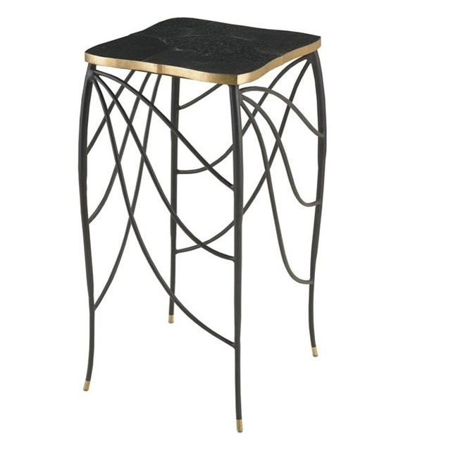Modern Black & Gold Metal Leg Side Table - Image 1 of 4