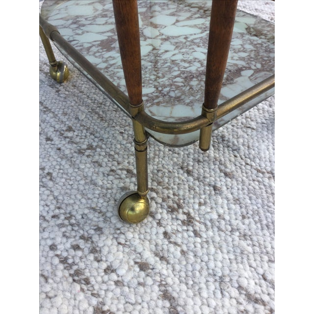 1950s Italian Brass & Walnut Bar Cart - Image 9 of 11
