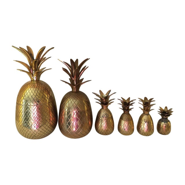 Image of Vintage Brass Pineapples - Set of 6