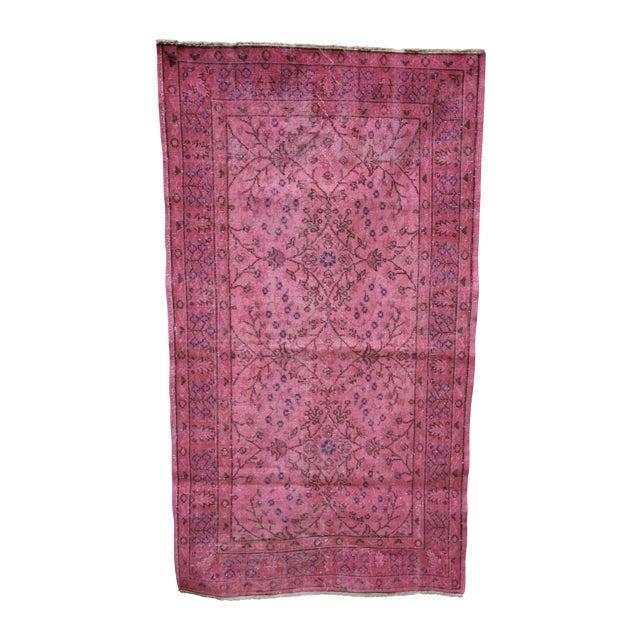 Image of Rosa Vintage Overdye Pink Rug - 3′10″ × 7′
