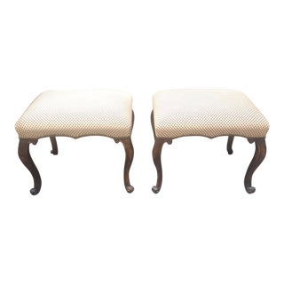 Wood Frame Ottomans - A Pair