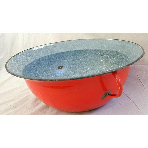 Jumbo Red European Enamelware Harvest Bowl - Image 6 of 8