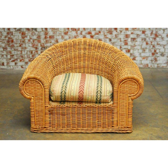 Michael Taylor Inspired Wicker Lounge Chair and Ottoman - Image 3 of 11