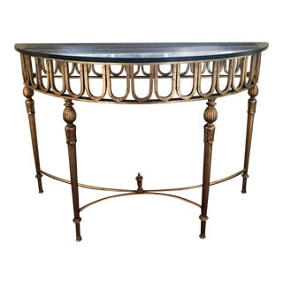Marble & Gilt Demi-Lune Console Table