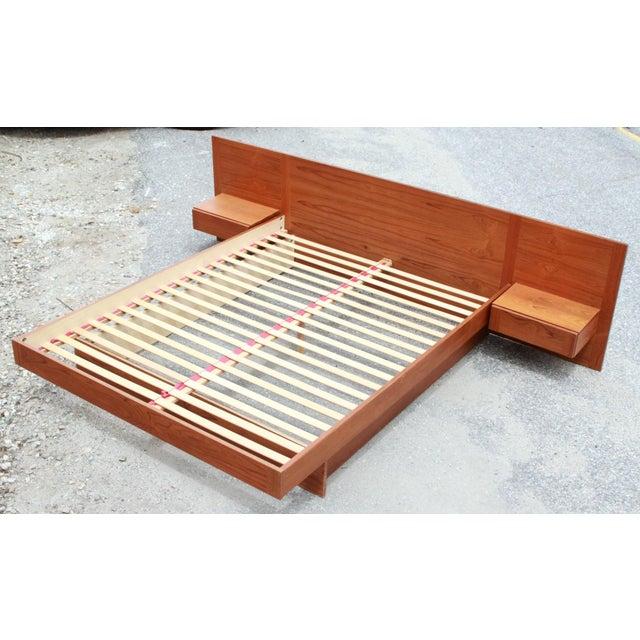 Danish Teak Queen Bed With Floating Nightstands - Image 3 of 11