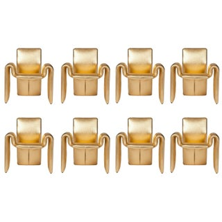 Metallic Gold Leather Dining Chairs - Set of 8