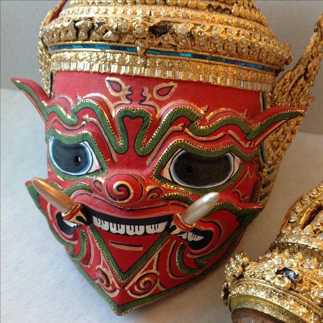 Antique Thai Demon Khon Mask - Image 11 of 11