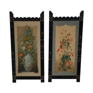 Antique Ebonized Framed Floral Prints - Pair