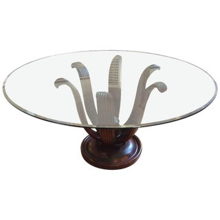 Carved Mahogany Acanthus Leaf Motif Pedestal Dining Table