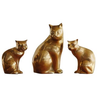 Cat Family, Group of Three Brass Cats, Mother and Two Kittens