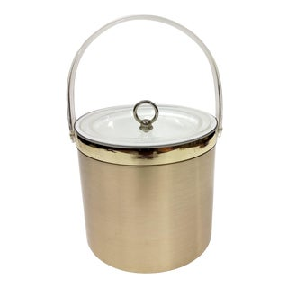 Georges Briard Mid-Century Modern Gold Metallic and Lucite Ice Bucket