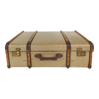 1940's Linen, Wood, Brass & Leather Suitcase