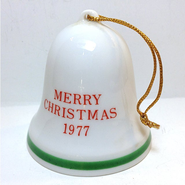 Image of Vintage 1977 Christmas Mouse Porcelain Bell
