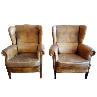 20th Century Brown Leather Wingback Armchairs - A Pair