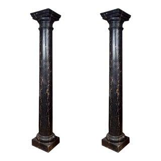 Black & White Faux Marble Columns - A Pair