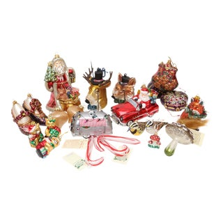 Hand Blown Glass Christmas Ornaments - Set of 23