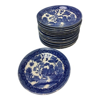 Blue & White Chinoiserie Plates - Set of 16