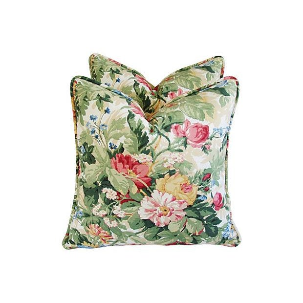 Custom P. Kaufmann Floral Bouquet Pillows - Pair - Image 3 of 8