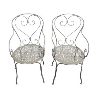 Vintage Wrought Iron Bistro Armchairs - A Pair