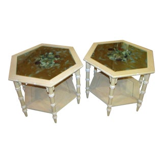 Pair of Decoupage Bamboo Sea Life Motif End Tables