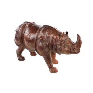 Vintage Leather Rhinoceros Sculpture