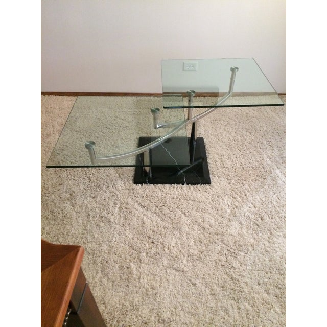 Modern Glass, Chrome & Marble Base Swivel Coffee Table - Image 2 of 11