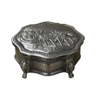 Pewter Winter Holiday Spirit Design Jewelry Box