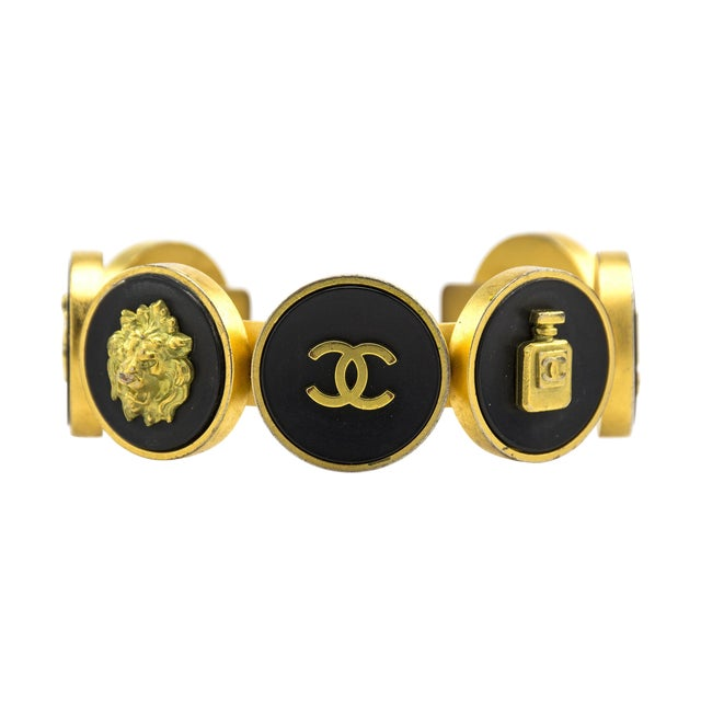 Image of Chanel Rare Coin Black & Gold Cuff