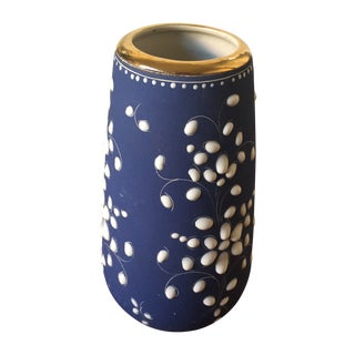 Vintage Blue and White Vase with Gold Rim