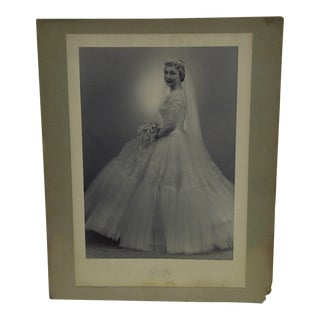 C. 1955 Bride in a Wedding Dress Black & White Photograph Vincent Evans Jr.