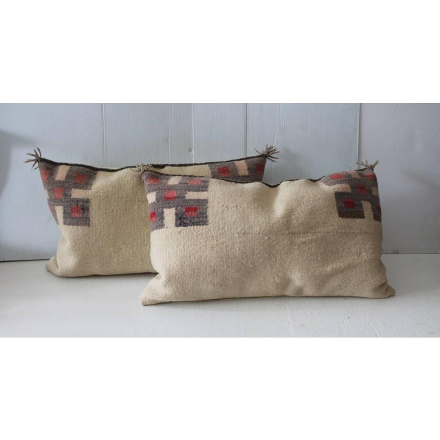 Image of Fantastic Pair of Geometric Navajo Indian Weaving Saddle Blanket Pillows