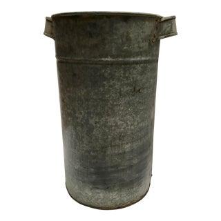 Vintage Round Galvanized Metal Planter