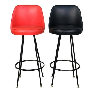 Black / Orange Vinyl Mid-Century Modern Barstool - A Pair