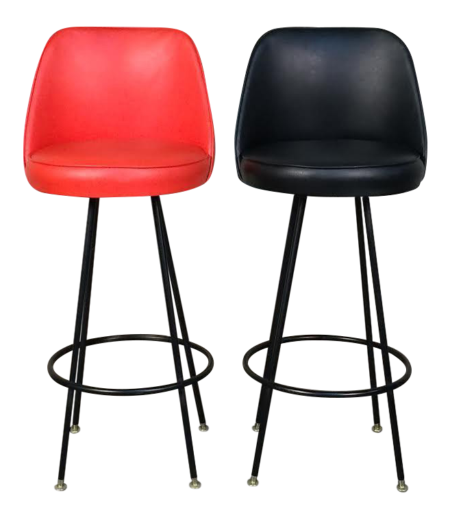 Black / Orange Vinyl Mid-Century Modern Barstool - A Pair  sc 1 st  Chairish : red modern bar stools - islam-shia.org